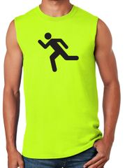 Mens High Visibility RUNNING Muscle Tee Shirt - Safety Green