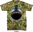 Mens Shark Shirt Big Shark Face Tie Dye T-shirt