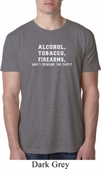 Mens Shirt Alcohol Tobacco Firearms ATF Burnout Tee T-Shirt