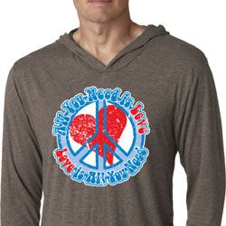 Mens Shirt All You Need is Love Lightweight Hoodie Tee T-Shirt