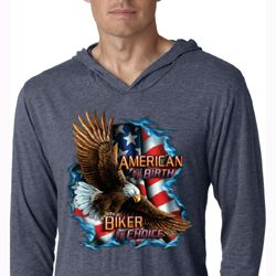 Mens Shirt American By Birth Lightweight Hoodie Tee T-Shirt