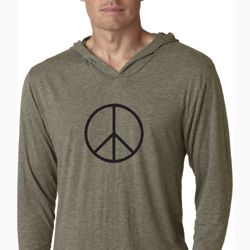 Mens Shirt Basic Peace Black Lightweight Hoodie Tee T-Shirt