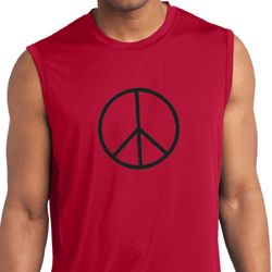 Mens Shirt Basic Peace Black Sleeveless Moisture Wicking Tee T-Shirt