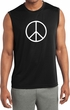 Mens Shirt Basic Peace White Sleeveless Moisture Wicking Tee T-Shirt