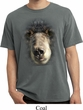 Mens Shirt Big Black Bear Face Pigment Dyed Tee T-Shirt