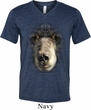 Mens Shirt Big Black Bear Face Tri Blend V-neck Tee T-Shirt