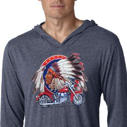 Mens Shirt Big Chief Indian Motorcycle Lightweight Hoodie Tee T-Shirt