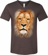 Mens Shirt Big Lion Face Tri Blend V-neck Tee T-Shirt