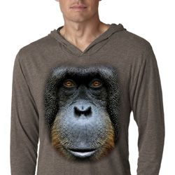 Mens Shirt Big Orangutan Face Lightweight Hoodie Tee T-Shirt