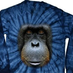 Mens Shirt Big Orangutan Face Long Sleeve Tie Dye Tee T-shirt
