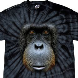 Mens Shirt Big Orangutan Face Spider Tie Dye Tee T-shirt