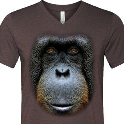 Mens Shirt Big Orangutan Face Tri Blend V-neck Tee T-Shirt