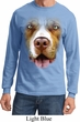 Mens Shirt Big Pit Bull Face Long Sleeve Tee T-Shirt