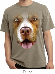 Mens Shirt Big Pit Bull Face Pigment Dyed Tee T-Shirt