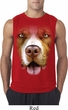 Mens Shirt Big Pit Bull Face Sleeveless Tee T-Shirt