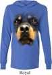 Mens Shirt Big Rottweiler Face Lightweight Hoodie Tee