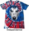 Mens Shirt Big Siberian Husky Face Patriotic Tie Dye Tee T-shirt