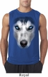 Mens Shirt Big Siberian Husky Face Sleeveless Tee T-Shirt