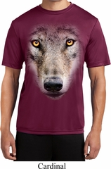 Mens Shirt Big Wolf Face Moisture Wicking Tee T-Shirt