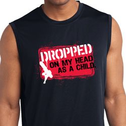 Mens Shirt Dropped On My Head Sleeveless Moisture Wicking Tee T-Shirt
