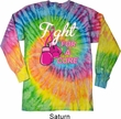 Mens Shirt Fight For a Cure Long Sleeve Tie Dye Tee T-shirt