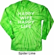 Mens Shirt Happy Wife Happy Life Long Sleeve Tie Dye Tee T-shirt