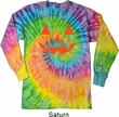 Mens Shirt Orange Jack O Lantern Long Sleeve Tie Dye Tee T-shirt