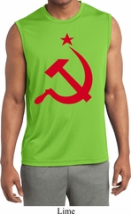 Mens Shirt Red Hammer And Sickle Sleeveless Moisture Wicking Tee