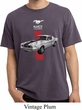 Mens Shirt Red Stripe Mustang 50 Years Pigment Dyed Tee T-Shirt
