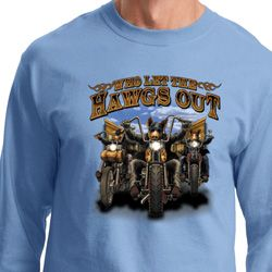 Mens Biker Shirt Who Let The Hawgs Out Long Sleeve Tee