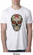 Mens Skull Shirt Sugar Skull with Roses Burnout Tee T-Shirt