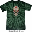 Mens Skull Shirt Sugar Skull with Roses Spider Tie Dye Tee T-shirt