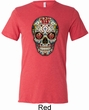 Mens Skull Shirt Sugar Skull with Roses Tri Blend Crewneck Tee T-Shirt