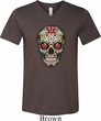 Mens Skull Shirt Sugar Skull with Roses Tri Blend V-neck Tee T-Shirt