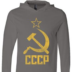 Mens Soviet Shirt CCCP Distressed Lightweight Hoodie Tee