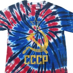 Mens Soviet Shirt CCCP Distressed Patriotic Tie Dye Tee T-shirt