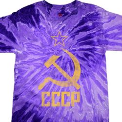 Mens Soviet Shirt CCCP Distressed Tie Dye Tee T-shirt