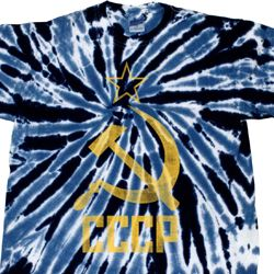 Mens Soviet Shirt CCCP Distressed Twist Tie Dye Tee T-shirt