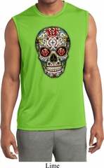 Mens Sugar Skull with Roses Sleeveless Moisture Wicking Tee T-Shirt