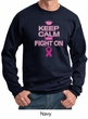 Mens Sweatshirt Breast Cancer Awareness Keep Calm Sweat Shirt