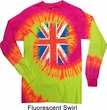 Mens UK Flag Shirt Union Jack Long Sleeve Tie Dye Tee T-shirt