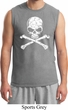 Mens White Distressed Skull Muscle Shirt