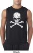 Mens White Distressed Skull Sleeveless Shirt