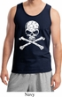Mens White Distressed Skull Tank Top