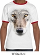 Mens Wolf Shirt Big Wolf Face Ringer Tee T-Shirt