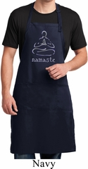 Mens Yoga Apron Namaste Lotus Pose Full Length Apron with Pockets