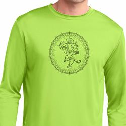 Mens Yoga Circle Ganesha Black Print Dry Wicking Long Sleeve