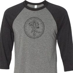 Mens Yoga Circle Ganesha Black Print Raglan Shirt