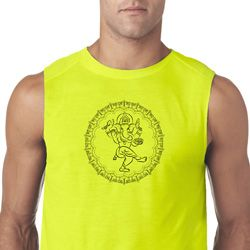Mens Yoga Circle Ganesha Black Print Sleeveless Shirt