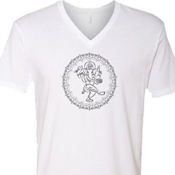 Mens Yoga Circle Ganesha Black Print V-neck Shirt